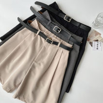 Casual pants Black, grey, apricot S,M,L Spring 2021 Pant Wide leg pants High waist commute routine 18-24 years old 96% and above polyester fiber Korean version pocket polyester fiber
