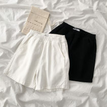 Casual pants White, black S,M,L Spring 2021 shorts Wide leg pants High waist commute routine 18-24 years old 96% and above Korean version cotton
