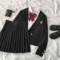 Fashion suit Summer 2020 S. M, average size Black coat, white shirt, black skirt 18-25 years old 96% and above polyester fiber
