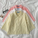 shirt White, apricot, pink Average size Spring 2021 cotton 51% (inclusive) - 70% (inclusive) Short sleeve commute Regular Polo collar Single row multi button routine Solid color 18-24 years old Straight cylinder Korean version Button, pocket polyester cotton