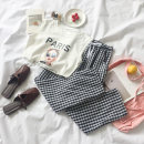 Fashion suit Summer of 2018 Average size White T + plaid pants Black T + plaid pants 18-25 years old 07098063 96% and above polyester fiber