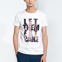 T-shirt Fashion City white routine S # (165), m # (170), l # (175), XL # (180), XXL # (185), lack of standard!! Valor team Short sleeve Crew neck Self cultivation daily summer T938 youth routine tide Cotton wool character printing cotton The thought of writing More than 95%