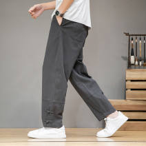 Casual pants Others Youth fashion Gray, black, khaki, navy M,L,XL,2XL,3XL,4XL,5XL routine Ninth pants Travel? easy Micro bomb Four seasons youth Chinese style 2020 Cotton 95% polyurethane elastic fiber (spandex) 5% washing Solid color cotton More than 95%
