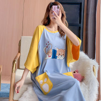 Nightdress Other / other Blue and yellow kitten cotton nightdress M,L,XL,2XL,3XL,4XL Cartoon Short sleeve pajamas Middle-skirt summer Cartoon animation youth Crew neck cotton printing More than 95% pure cotton 200g and below