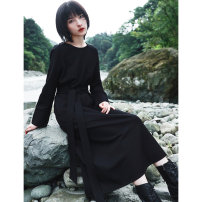 Dress Spring 2021 black Average size longuette singleton  Long sleeves commute Crew neck middle-waisted Solid color Socket other routine Others 18-24 years old Type H Big dragon shop Retro Pocket, belt QL200328249 51% (inclusive) - 70% (inclusive) knitting cotton