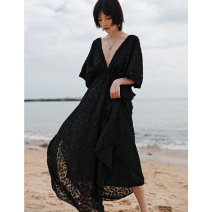 Dress Spring 2021 black Average size longuette singleton  elbow sleeve commute V-neck High waist other Socket A-line skirt Sleeve Others 18-24 years old Type A Big dragon shop Retro Pleated, open back, cut Chiffon QL210228297 More than 95% Chiffon polyester fiber