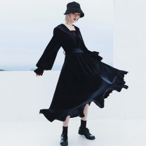 Dress Winter 2020 black Average size Mid length dress singleton  Long sleeves commute Admiral High waist Solid color Socket Big swing bishop sleeve 18-24 years old Type A Big dragon shop Retro Embroidery, stitching, bandage QL200328260 More than 95% other polyester fiber
