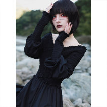 Dress Spring 2021 Black, white Large size long, small size short (about 7 days in advance), large size short, small size long (about 7 days in advance) longuette singleton  Long sleeves commute V-neck High waist Solid color Socket A-line skirt bishop sleeve 18-24 years old Type A Big dragon shop
