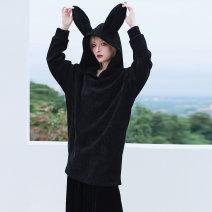 Dress Spring 2021 black Average size Mid length dress singleton  Long sleeves commute Hood Loose waist Solid color Socket A-line skirt raglan sleeve 18-24 years old Type A Big dragon shop Simplicity QL200328277 31% (inclusive) - 50% (inclusive) corduroy polyester fiber