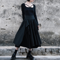 skirt Spring 2021 Average size black Mid length dress commute High waist Fluffy skirt Solid color Type A 18-24 years old QL200222101 More than 95% other Big dragon shop cotton Ruffles, ruffles, waves Retro