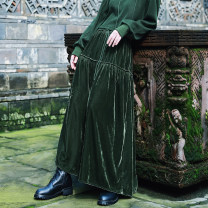 skirt Spring 2021 Average size Black, green longuette commute High waist A-line skirt Solid color Type A 18-24 years old QL200322116 30% and below other Big dragon shop nylon Pleating, Auricularia auricula, lace up Retro