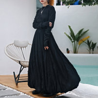 skirt Spring 2021 Small, large black Mid length dress commute High waist A-line skirt Solid color Type A 18-24 years old QL210122158 More than 95% Wool Big dragon shop polyester fiber Fold, splice Retro