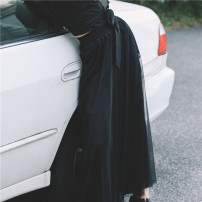Casual pants black Average size Spring 2021 trousers Wide leg pants Natural waist commute routine 18-24 years old 96% and above NQ170205026 Big dragon shop polyester fiber Retro Gauze polyester fiber