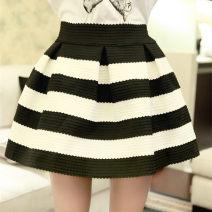 skirt Spring 2014 Black and white stripes Short skirt Versatile Fluffy skirt stripe 18-24 years old other other 201g / m ^ 2 (including) - 250G / m ^ 2 (including)