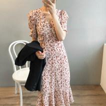 Dress Summer 2020 Yellow, pink M, L Mid length dress singleton  Short sleeve Sweet V-neck High waist Decor Socket Ruffle Skirt routine 18-24 years old solar system