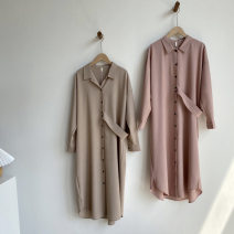 Dress Spring 2020 Apricot, pink M, L Mid length dress singleton  Long sleeves commute Polo collar Loose waist Single breasted routine 18-24 years old Type H Korean version