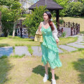 Dress Summer 2020 green S,M,L Mid length dress singleton  Sleeveless commute V-neck High waist Solid color Socket A-line skirt camisole 18-24 years old Type A Other / other Simplicity Lotus leaf edge 30% and below Chiffon nylon