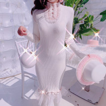 sweater Winter of 2019 Average size Milky white, pink Long sleeves Socket singleton  Medium length acrylic fibres 30% and below Crew neck Regular commute routine Solid color Self cultivation Regular wool Keep warm and warm 18-24 years old Other / other Lace acrylic fibres