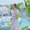 Dress Summer 2020 milky white S,M,L Mid length dress singleton  Short sleeve commute V-neck High waist Broken flowers A-line skirt Lotus leaf sleeve Others 18-24 years old Type A Other / other lady bow 30% and below Chiffon polyester fiber