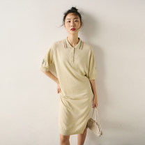 Dress Spring 2021 Grey blue spot, reed yellow spot S,M,L,XL Mid length dress singleton  Short sleeve commute Socket routine 30-34 years old Insect TE1XLY062 31% (inclusive) - 50% (inclusive) other cotton