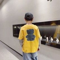 T-shirt Black, yellow, black reservation, yellow reservation Other / other 110cm / 110, 120cm / 120, 130cm / 130, 140cm / 140, 150cm / 150, 160cm / 160, 170cm / 170 male spring and autumn Long sleeves Crew neck Korean version There are models in the real shooting nothing cotton Cartoon animation --