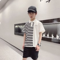 T-shirt Stripe white, stripe white Other / other 120cm / 120, 130cm / 130, 140cm / 140, 150cm / 150, 160cm / 160, 170cm / 170 male summer Short sleeve Crew neck solar system There are models in the real shooting nothing cotton stripe Cotton 90% other 10% -- 12, 11, 10, 9, 8, 7, 5, 6, 4, 3