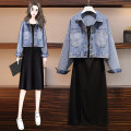 Women's large Spring 2021 Denim jacket, suspender skirt, picture color (suit) Large L, large XL, large XXL, large XXL, large XXXL Two piece set easy moderate Socket Long sleeves Solid color Polo collar routine Three dimensional cutting routine Real shot 2398 Baylor large Button longuette