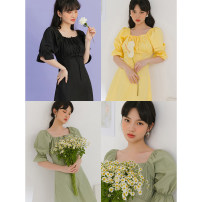 Dress Summer 2020 Black, yellow, green S,M,L Mid length dress singleton  Short sleeve commute other High waist Solid color Socket other other Others 18-24 years old Type A LOVEHEYNEW Korean version other other
