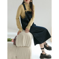 Dress Spring 2021 navy blue S,M,L Mid length dress singleton  commute One word collar Solid color other straps 18-24 years old Type H LOVEHEYNEW Korean version D34k-z2247 yellow line strap skirt