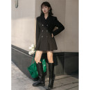Dress Autumn 2020 black S,M,L Middle-skirt singleton  Long sleeves street tailored collar High waist Solid color double-breasted A-line skirt routine Others 18-24 years old Type A LOVEHEYNEW cotton