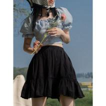 skirt Spring 2021 Average size Black, white Short skirt commute High waist Solid color Type A 18-24 years old E32y-w7f311 cake skirt LOVEHEYNEW Korean version