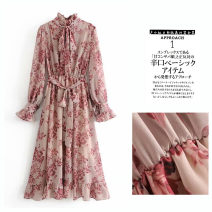 Dress Spring of 2019 Pink S,L,M Mid length dress singleton  Long sleeves commute Crew neck Decor Socket Ruffle Skirt routine Others Type A Other / other Retro printing Q32098-181225 30% and below other cotton