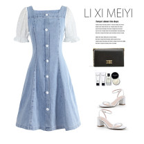 Dress Spring 2021 Light blue + white sleeves, light blue + floral sleeves S,M,L,XL Short skirt Fake two pieces Short sleeve commute square neck High waist Solid color Socket A-line skirt puff sleeve Type A Retro Splicing C5805 51% (inclusive) - 70% (inclusive) Denim cotton