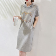 Dress Summer 2020 Mulberry black, sand lime XXL,S,M,L,XL Mid length dress singleton  Short sleeve commute Hood Loose waist other Socket other routine Others Type H Jane diffuse / minimalist Ol style Pocket, print, drawcord D5358 More than 95% other cotton