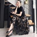 skirt Summer of 2019 S,M,L,XL black Middle-skirt Solid color