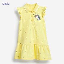 Dress yellow female Little Maven The height of 2T is about 85, 3T is about 90, 4T is about 100, 5T is about 110, 6T is about 120, 7T is about 125 Cotton 95% other 5% summer Europe and America Short sleeve Cartoon animation cotton A-line skirt L0297