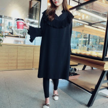 Dress Spring 2021 Black spot S,2XL Mid length dress singleton  Long sleeves commute Solid color Socket Petal sleeve Others Type H Qi Yixin Korean version