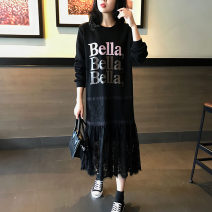 Dress Spring 2021 Black (stock) S,M,L,XL,2XL Mid length dress Fake two pieces Long sleeves Crew neck routine Others Qi Yixin