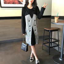 Dress Spring 2021 Two black fake (in stock) S,M,L,XL,2XL Mid length dress Fake two pieces Long sleeves commute Crew neck Loose waist Socket Pleated skirt routine Others Type H Qi Yixin Korean version Fold, tie, splice QYX0827-1