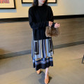 Dress Spring 2021 Black (stock) S,M,L,XL,2XL,3XL longuette Fake two pieces Long sleeves commute stand collar Socket Pleated skirt routine Others 25-29 years old Qi Yixin Ol style QYX1201-1