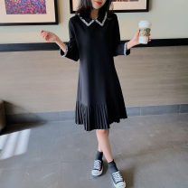 Dress Spring 2021 Black spot S,M,L,XL,2XL Mid length dress singleton  Long sleeves commute Doll Collar Loose waist Solid color Socket routine Others 25-29 years old Type A Qi Yixin Korean version QYX1102-3