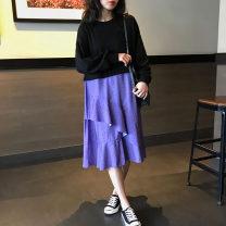 Dress Spring 2021 Blue stitching (in stock) S,M,L,XL,2XL Irregular skirt Qi Yixin QYX0906-5