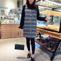 Dress Spring 2021 Picture color (in stock) S,M,L,XL,2XL Mid length dress Fake two pieces Long sleeves Polo collar Loose waist Socket Petal sleeve Others