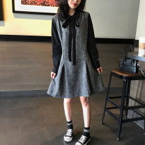 Dress Spring 2021 Dark grey (in stock) S,M,L,XL,2XL Mid length dress Fake two pieces Long sleeves commute Polo collar Loose waist Ruffle Skirt routine Others Type H Qi Yixin Korean version Splicing