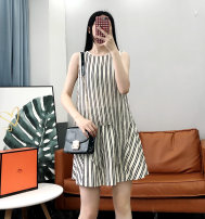 Dress Summer of 2019 black and white S / 155, M / 160, L / 165, XL / 170, M / 160 staining Middle-skirt singleton  Sleeveless Sweet Crew neck stripe Socket other Others Type H Y01147K More than 95% other