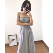 Dress Summer of 2019 Flower ash Average size longuette singleton  Sleeveless commute One word collar High waist Solid color Socket Big swing Breast wrapping Simplicity 31% (inclusive) - 50% (inclusive) cotton