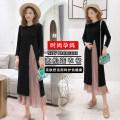 Dress Other / other Black (regular), black (lactation) M,L,XL,XXL Korean version Long sleeves Medium length spring Crew neck Solid color 993#