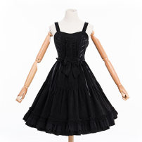 Dress Winter 2020 Black, red, red cape, black cape One size fits all, s, L Mid length dress singleton  Sweet High waist Solid color Princess Dress Princess sleeve camisole 18-24 years old Brocade Garden Embroidery 81% (inclusive) - 90% (inclusive) corduroy polyester fiber