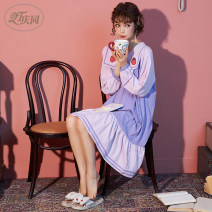 Nightdress Qingtong Lavender  160(M) 165(L) 170(XL) 175(XXL) Sweet Long sleeves Leisure home longuette spring Solid color youth Small lapel cotton Embroidery 81% (inclusive) - 95% (inclusive) Knitted cotton fabric 200g and below Spring 2020 Cotton 95% polyurethane elastic fiber (spandex) 5%