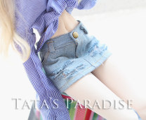 BJD doll zone trousers 1/3 Over 14 years old goods in stock Denim skirt with holes 3 points for female (hip circumference less than 26), RL giant baby (4 points for female), 4 points MSD.MDD (within 18 hips)
